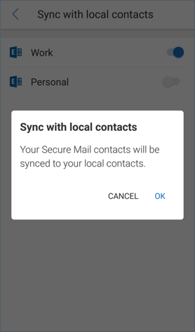 Image of the Sync with local contacts confirmation for Android