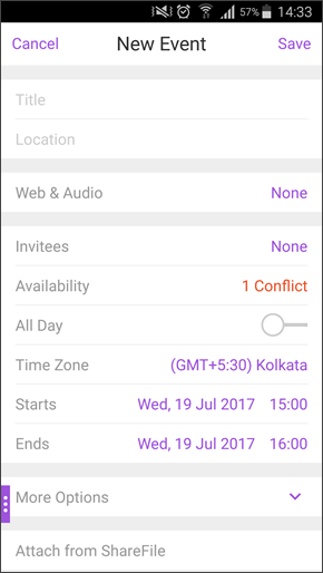 Image of a calendar conflict on Android