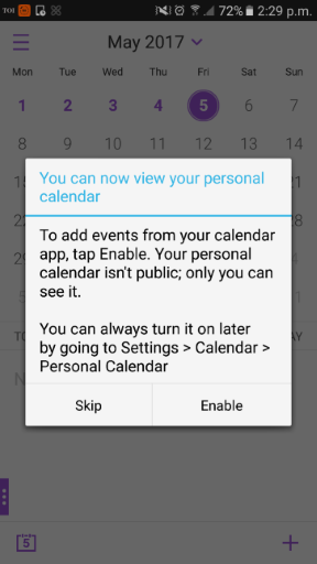 Image of iOS personal calendar feature on iOS