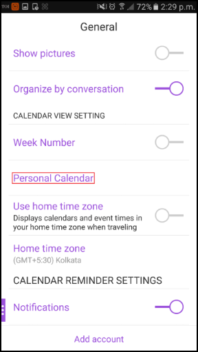 Image of iOS general settings with personal calendar feature